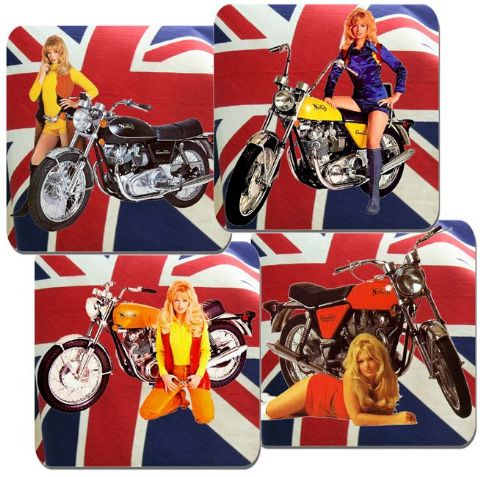 Vintage Commando Motorcycle Quality Coasters Set Of 4 Classic British Motorbikes